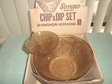 Anchor Hocking Honey Gold Soreno 3 pc. Chip n' Dip in box MINTY