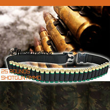 Tactical .410 12GA Hunting Shotgun Holder Belt 25 Shell Cartridge Ammo Sling