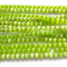 """16"""" oeil de chat verre 6MM perles rondes-lt vert-CT10"""