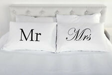 Mr and Mrs pair of printed pillow cases Wedding present gift pillowcases couple