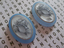 2 Vintage Silver Rose Cameos on Matte Blue Base w Gold Rim Cabochons - 25X18mm