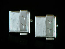Vtg SWANK Mid Century Modern Engraved Silver Tone Cuff Links
