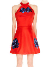 Keepsake Red Light Fields Backless Halter Skater Blue Flower Mini Dress M 10