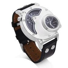 Reloj Cuarzo Pulsera Correa Cuero Negro Dial Redondo para Hombre
