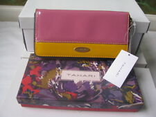 TAHARI Patent yellow and pink Wallet clutch - NIB