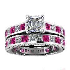 2Pcs/Set Red Ruby Women Engagement Jewelry 925 Silver Wedding Ring size 6#