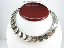 Estate Sterling Silver 925 FIDENCIO SERRANO Modernist Thumbprint Collar Necklace