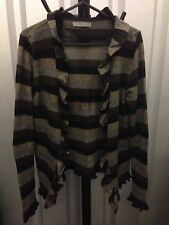 M&S Women Cardigan Black & Grey With Wool Warm Striped Casual Size 14 (5)