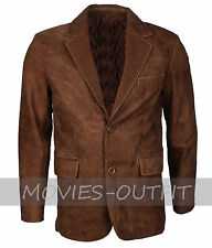 New Formal Style Mens Fashion Brown Suede Blazer Leather Coat - SALE