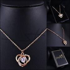 Kette Halskette *Modernes Herz Zirkonia*, Rosegold pl, Swarovski Elements +Etui