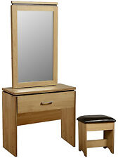 Charles 3 Piece Vanity Set 1 Draw Dressing Table Desk with PU Leather Stool Oak