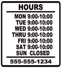"""Business Store Hours Sign Window Shop Open Closed Sticker Decal 10""""x9""""  VER 1"""