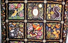 Woodland Animal Fabric Panel BOHEMIA Fox Owl Cat Pillow Quilt Squares Paschkis