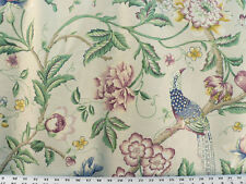Drapery Upholstery Fabric Cotton Slub Floral Bird Insect Design - Peacock Garden