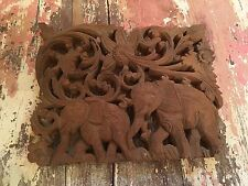 Vintage Wood Wooden Elephant Carving Carved Wall Hanging Picture