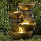 Water Fountain Outdoor Garden Three Tier Patio Decor Home LED Lights Office Pots