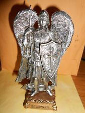 "Pewter Saint St Michael Figurine Statue on Gold Tone Base, 4 1/2"" USA made"