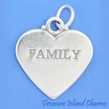 """FAMILY"" TWO-SIDED HEART .925 Solid Sterling Silver Charm Pendant"