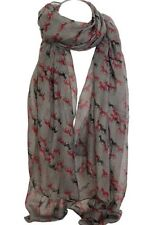 Elegant Grey Color  Horse Print Scarf Scarves Stole Wrap Shawl Sarong