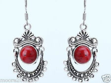Vintage Tibet Style Tibetan Silver Red coral earring