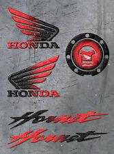 """Coppia Adesivi Resinati Stickers 3D HONDA  ALI + COPPIA scritte """"Hornet"""" + TAPPO"""