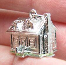 Vintage Sterling Silver 3D House Home Building Bracelet Charm