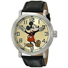 WALT DISNEY OLD SCHOOL MICKEY MOUSE MENS WATCH WITH BLACK LEATHER BAND NEW