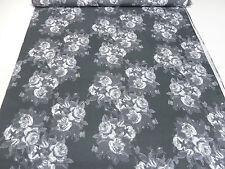 ☻ Stoff Ital. Designer Viskose Jersey Blumen Druck grau weiß ☻