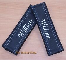 2x PERSONALIZED CUSTOM SEAT BELT COVERS PADS BLACK GENUINE LEATHER ITALIC FONT