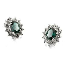 GORGEOUS 18K WHITE GOLD PLATED EMERALD SWAROVSKI CRYSTAL CLIP-ON EARRINGS