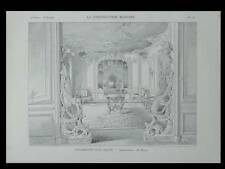 DECORATION SALON STYLE LOUIS XV - 1901 - PLANCHE ARCHITECTURE - HENRI FIVAZ