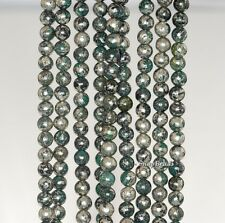 4MM GREEN IRON PYRITE INCLUSIONS GEMSTONE GRADE A ROUND 4MM LOOSE BEADS 15.5""