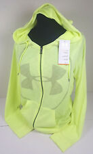NWT WOMEN UNDER ARMOUR YELLOW BIG LOGO PERFORMANCE  FULL ZIP HOODIE SZ XL