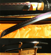 "41""DAMASCUS FOLDED STEEL CLAY TEMPERED BLACK RED JAPANESE SAMURAI SWORD KATANA"