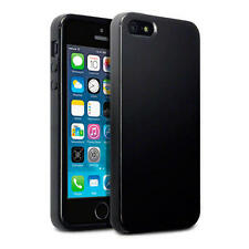 Delgado Goma negro sólido Jalea Gel TPU Funda Para Apple iPhone 5/5S/SE