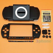 FULL HOUSING UMD COVER+OUTER LENS+BUTTON SET+SCREW SET FOR SONY PSP 1000 BLACK