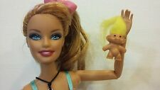 """YELLOW .8"""" TROLL DOLL for Barbie Ken Kelly Nursery PlayToy Accessory Collectible"""
