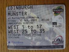 23/10/2009 Ticket: Rugby Union - Edinburgh v Munster