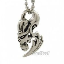 """Men's Silver Alien Skull Blade Stainless Steel Pendant with 21"""" Chain Necklace"""