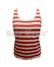 Red & White Striped Wally Girl Vest Top Fancy Dress Costume Outfit