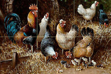Chicken family under a bush Tile Mural Kitchen Bathroom Wall Backsplash 18x12
