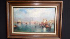 Vintage Framed Oil Painting M. E Canley D'Apres T *Maron? Europe sea scape