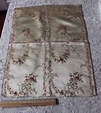 Antique French 18thC (1700s) Silk & Chenille Roses & Ribbons Brocaded Fabric