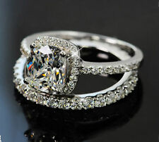 Women 8mm Topaz Cz 10KT White Gold Filled Wedding Band Ring Set Size 5-11 Gift