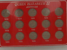 Queen Elizabeth II complete set of sixpences 1953-1967