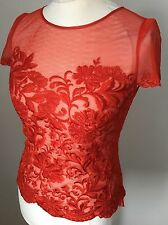 Karen Millen Red Lace Embroiery Blouse Top Size 10UK