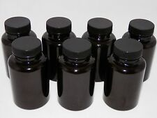 7 Wide Mouth Round 175cc Plastic Dark Amber Bottle Containers With Black Caps