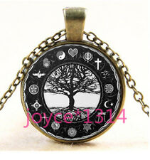 Vintage tree of Life Cabochon  Bronze Glass Chain Pendant Necklace #3506