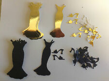 Embellishments 20 Long Card Dresses & 40 Card Matching Shoes -Black & Gold