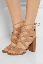SAM EDELMAN YARDLEY LACE UP HEELS 7.5 Suede Golden Caramel Heels Sandals Shoes